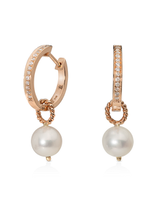 Single Diamond Hoops with Detachable Pearl Charm/Pendant- 18K Rose Gold