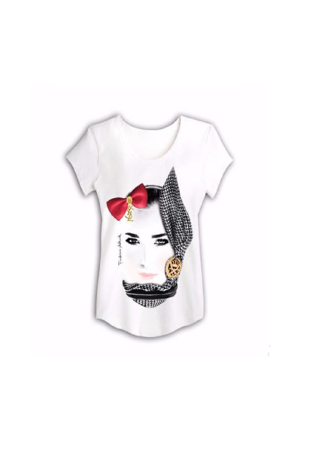 white T shirt with a fa black print by HAYA AWAD