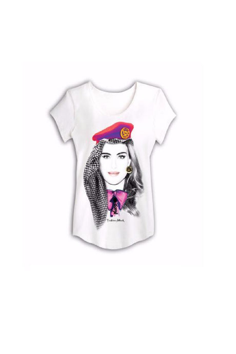 white T-shirt with a bella print by HAYA AWAD