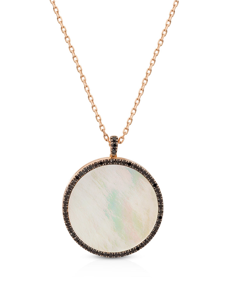 The Wanderlust Locket with Black Spinel and Mother of Pearl