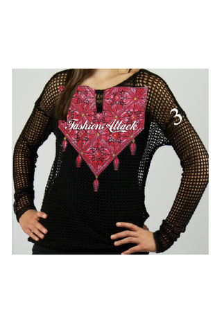 black shirt with red falahi style by HAYA AWAD