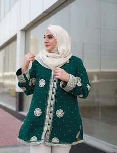 Embroidered Green Cardigan