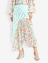 Load image into Gallery viewer, Pleated curve asymmetric skirt with mix print