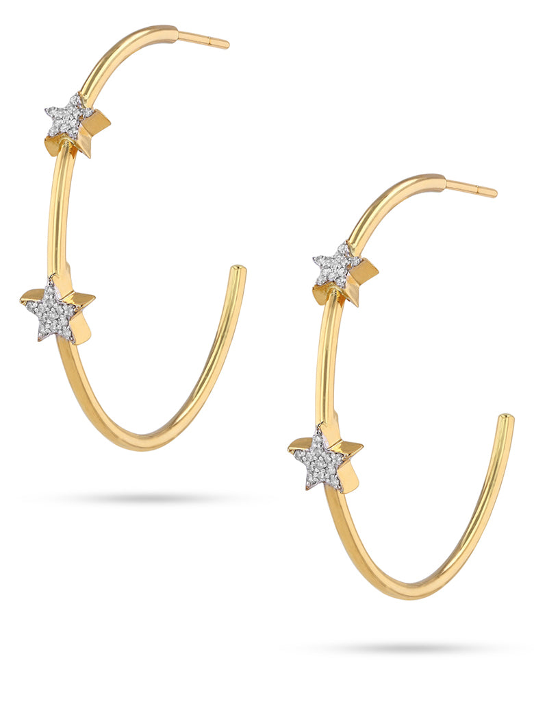 Star diamond and gold hoops