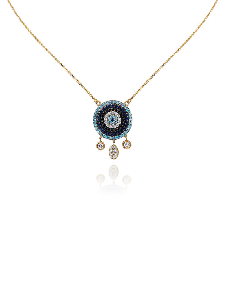 Evil eye in precious stones necklace with dangling diamonds
