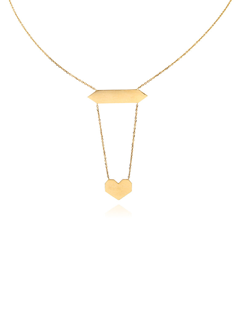 angular heart with ID necklace