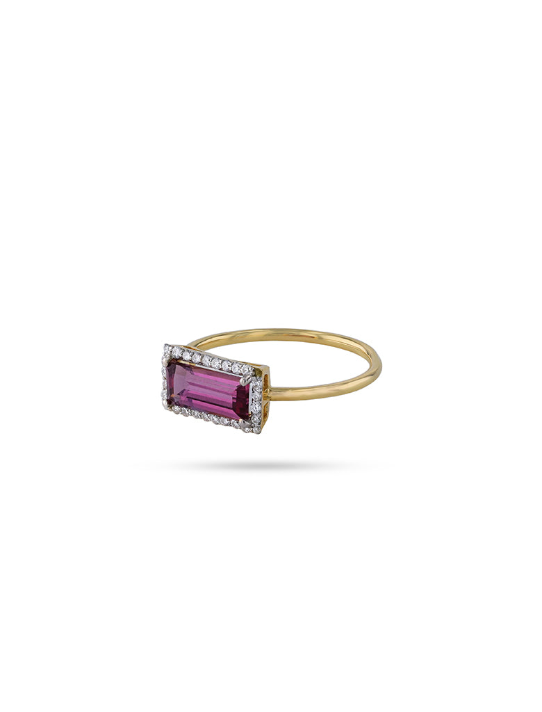 Pink rectangle stone ring with diamonds