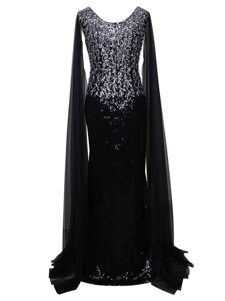 Cape-Effect Sequin Dress