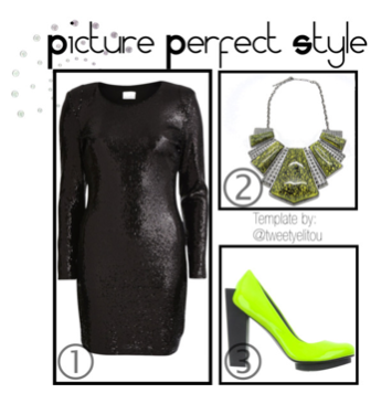 Black Dress, Neon Heels, Green Necklace | Helen's Jewels