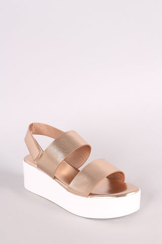 Bamboo Leather Double Band Open Toe Slingback Flatform Wedge