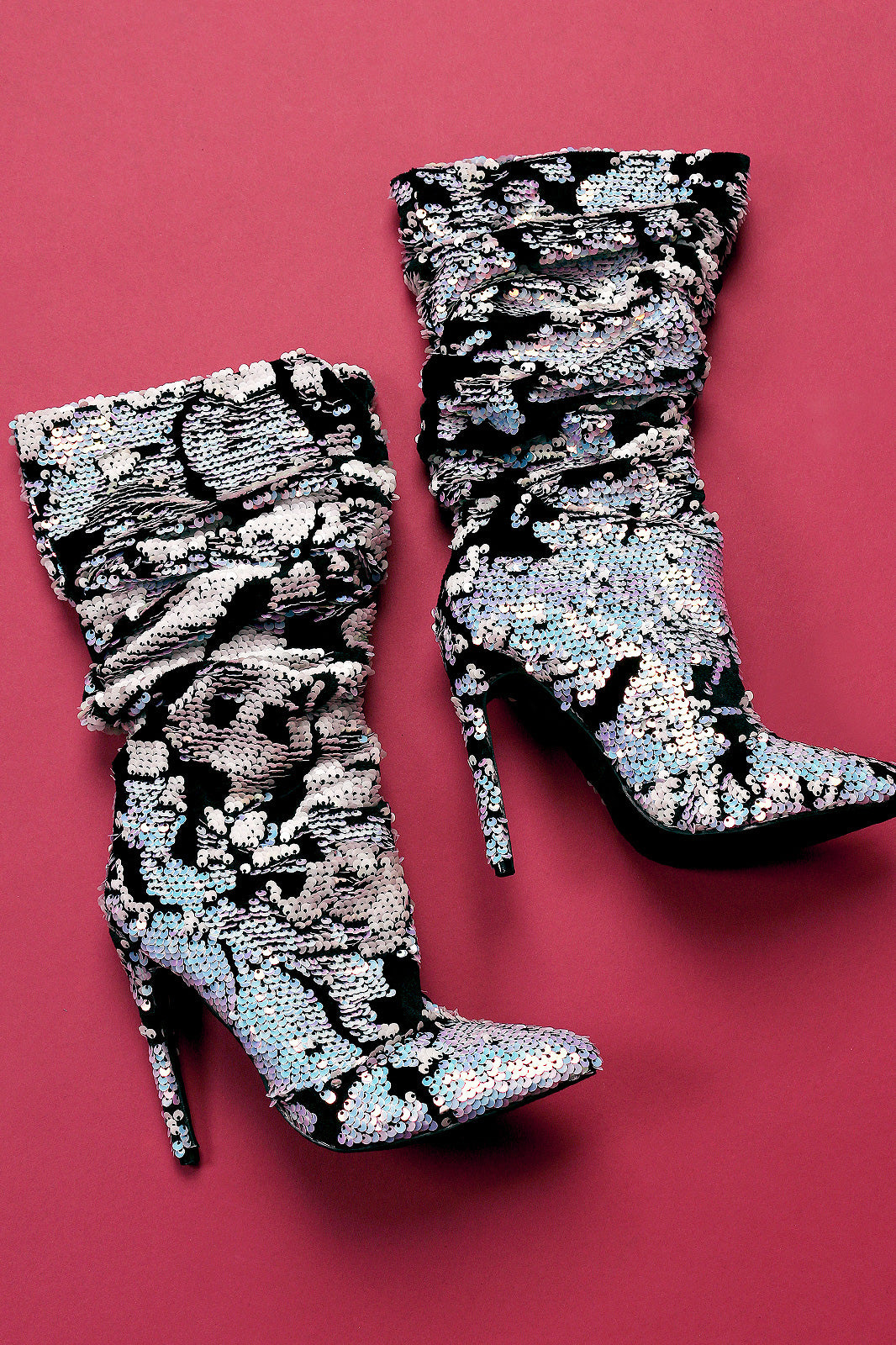 Sequin Embellished Velvet Slouchy Pointy Toe Stiletto Boots