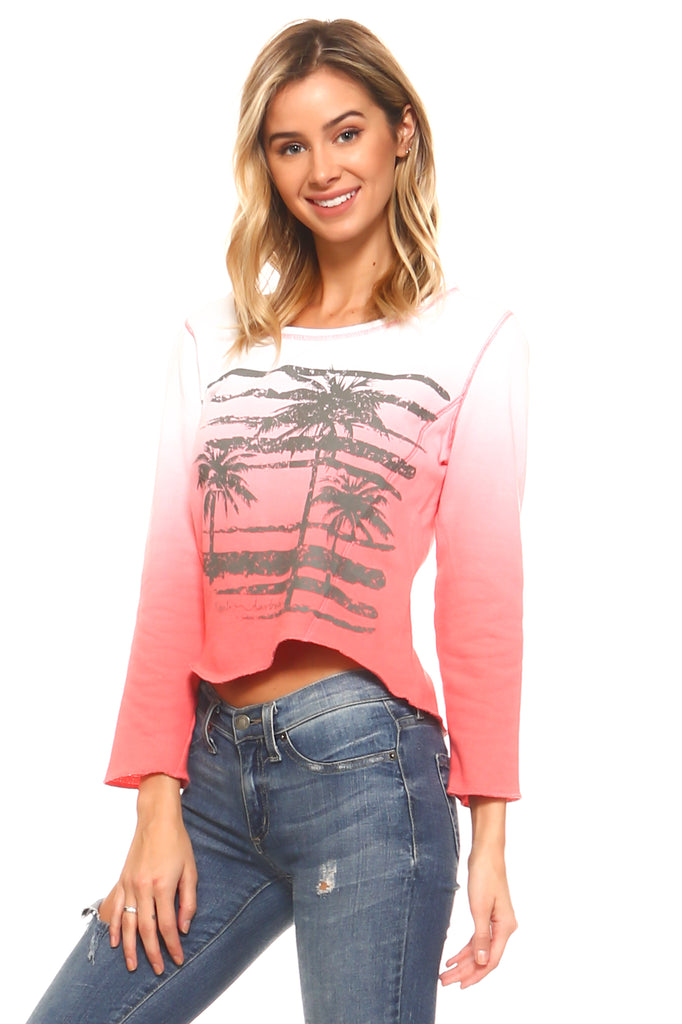 Women's Dip Dye French Terry Long Sleeve Screened Sweatshirt