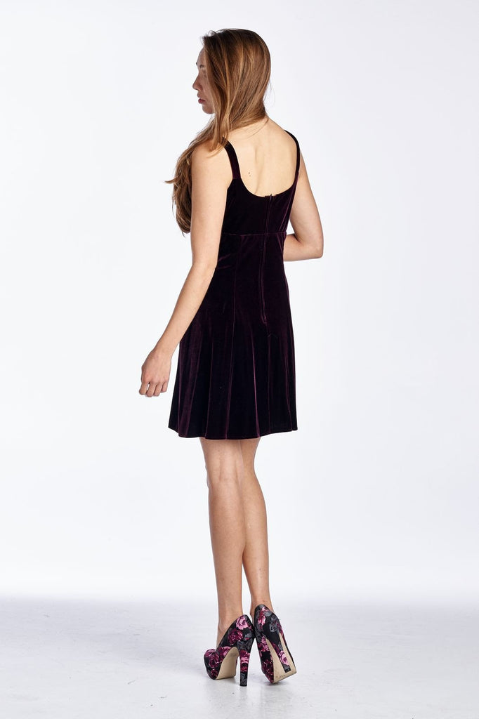 Women's Velvet Tank Dress with Floral Embroidery