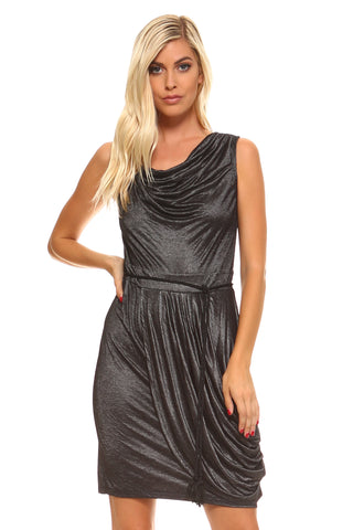 Women's Asymmetrical Velvet Choker Slit Dress