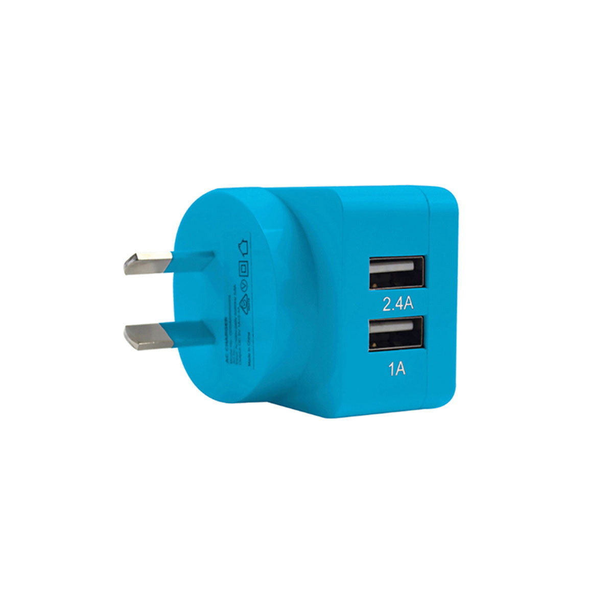 2-Port Rapid USB Wall Charger (3.4A) Blue