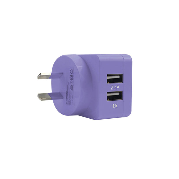 Mobile Mob 2-Port Rapid USB Wall Charger (3.4A) Purple