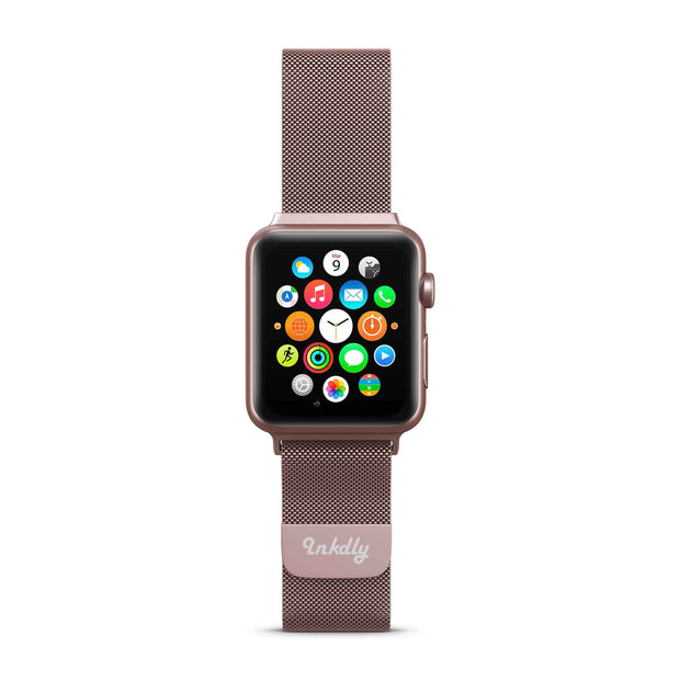 Mobile Mob Stainless Milanese Apple Watch Band with Magnetic Lock 38MM/40MM / Rose Pink Series 1 & 2