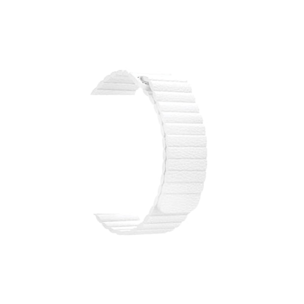 Magnetic Leather Loop Apple Watch Bands Replacement Strap - White