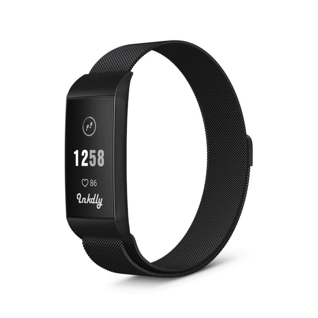Milanese Fitbit Charge 3 Band Replacement Magnetic Lock BLACK NIGHT