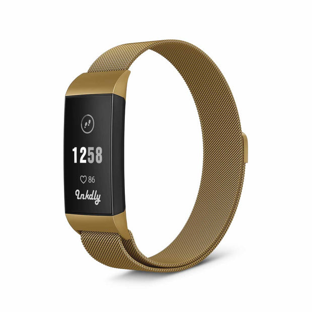 Mobile Mob Milanese Fitbit Charge 3 Band Replacement Magnetic Lock Gold Honour