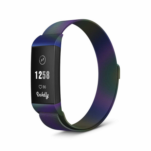 Milanese Fitbit Charge 3 Band Replacement Magnetic Lock IRIDESCENT