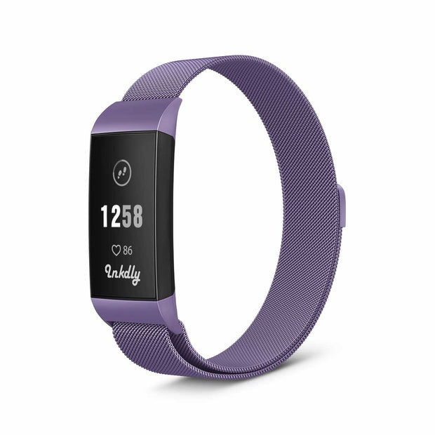 Milanese Fitbit Charge 3 Band Replacement Magnetic Lock LIGHT PURPLE