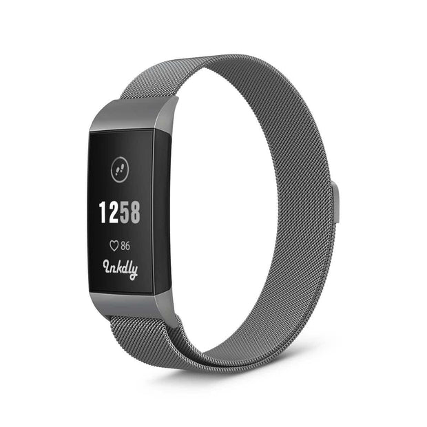 Mobile Mob Milanese Fitbit Charge 3 Band Replacement Magnetic Lock Silver Steel