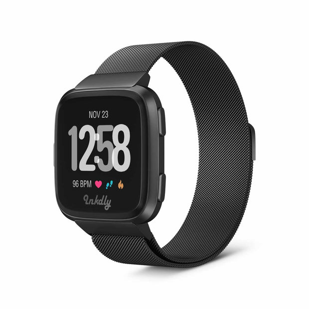 Mobile Mob Milanese Fitbit Versa & 2 Band Replacement Magnetic Lock Black Night
