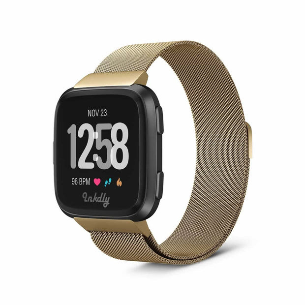 Mobile Mob Milanese Fitbit Versa & 2 Band Replacement Magnetic Lock Gold Honour