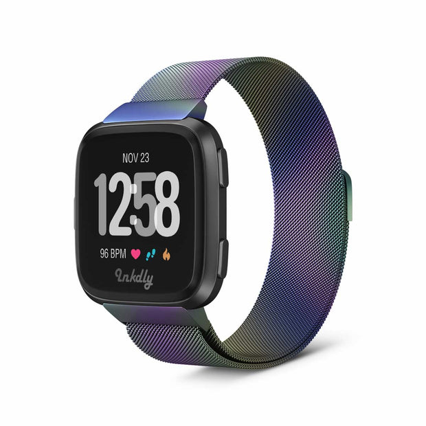Mobile Mob Milanese Fitbit Versa & 2 Band Replacement Magnetic Lock Iridescent