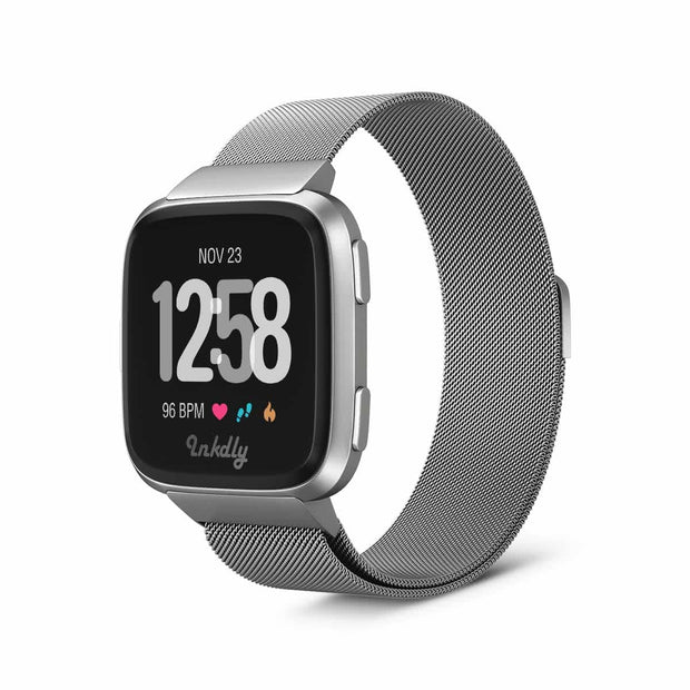 Mobile Mob Milanese Fitbit Versa & 2 Band Replacement Magnetic Lock Silver Steel