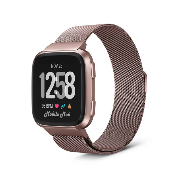 Mobile Mob Milanese Fitbit Versa & 2 Band Replacement Magnetic Lock Special Edition Rose Gold