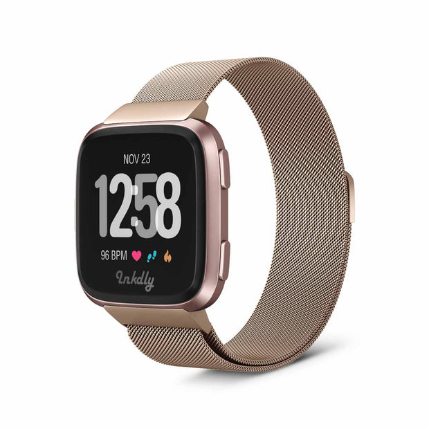 Mobile Mob Milanese Fitbit Versa & 2 Band Replacement Magnetic Lock Traditional Rose Gold