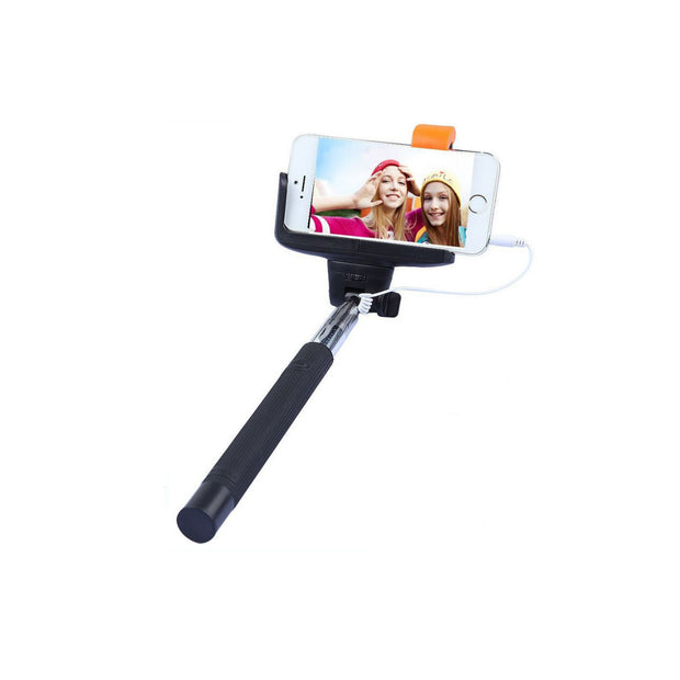 Mobile Mob Selfie Stick MonoPole with Camera Button For Apple iPhone 4 5s 6 7 8 X Plus Black