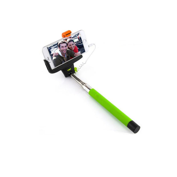 Mobile Mob Selfie Stick MonoPole with Camera Button For Apple iPhone 4 5s 6 7 8 X Plus Green