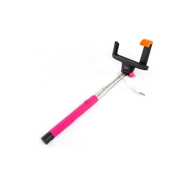 Mobile Mob Selfie Stick MonoPole with Camera Button For Apple iPhone 4 5s 6 7 8 X Plus Pink