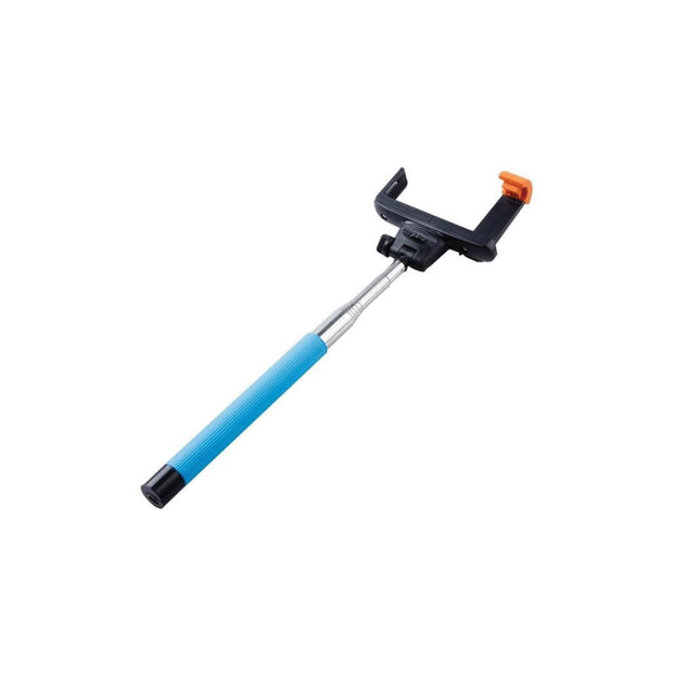Mobile Mob Selfie Stick MonoPole with Camera Button For Apple iPhone 4 5s 6 7 8 X Plus Blue