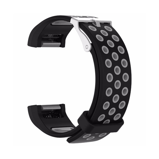 Mobile Mob AirVent Fitbit Charge 2 Bands Replacement Bracelet Wristband with Buckle Black + Grey Vents