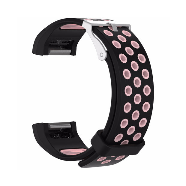 Mobile Mob AirVent Fitbit Charge 2 Bands Replacement Bracelet Wristband with Buckle Black + Pink Vents