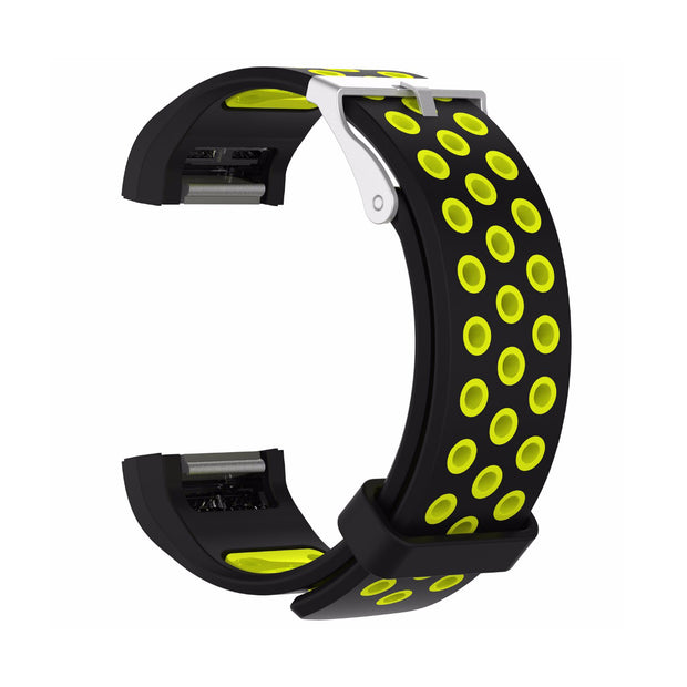 Mobile Mob AirVent Fitbit Charge 2 Bands Replacement Bracelet Wristband with Buckle Black + Yellow Vents
