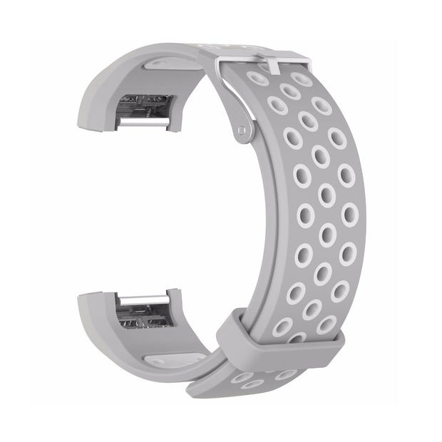 Mobile Mob AirVent Fitbit Charge 2 Bands Replacement Bracelet Wristband with Buckle Grey + White Vents