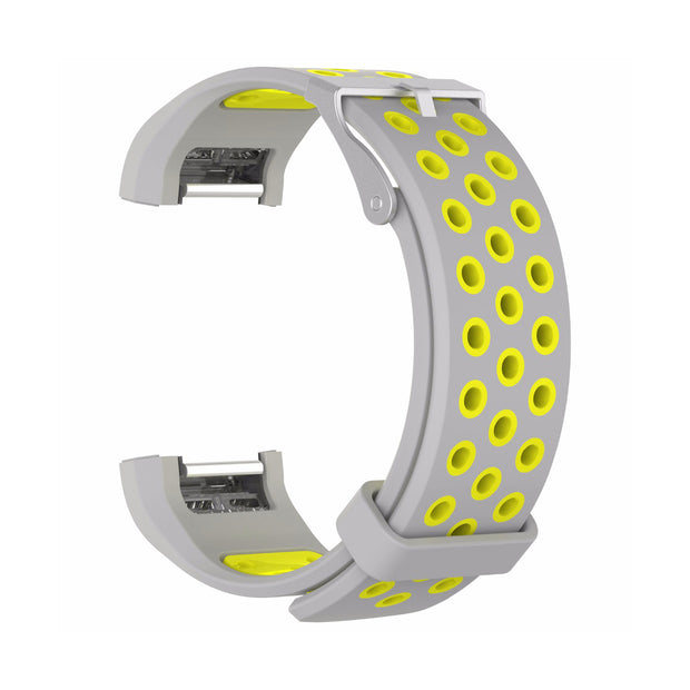 Mobile Mob AirVent Fitbit Charge 2 Bands Replacement Bracelet Wristband with Buckle Grey + Yellow Vents