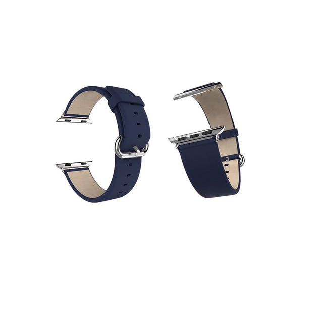 Mobile Mob Classic Leather Apple Watch Bands Replacement Strap 42MM/44MM / Navy