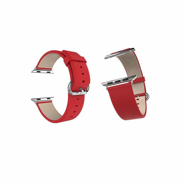 Mobile Mob Classic Leather Apple Watch Bands Replacement Strap 38MM/40MM / Red
