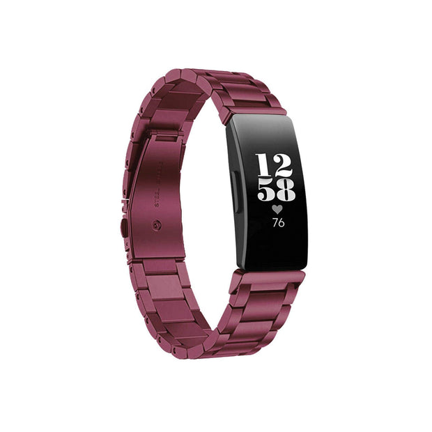 Mobile Mob Boss Fitbit Inspire & HR Band Replacement Stainless Link Purple Sangria