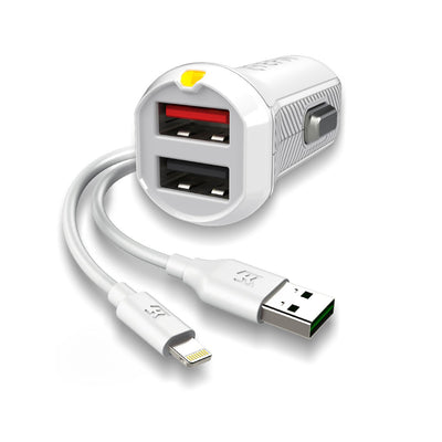 Mobile Mob EFM Car Charger 3.4A Dual USB With MFi Lightning Cable - White