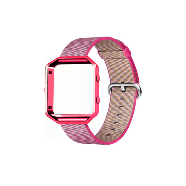 Mobile Mob Fitbit Blaze Woven Nylon Band Replacement & Frame Pink
