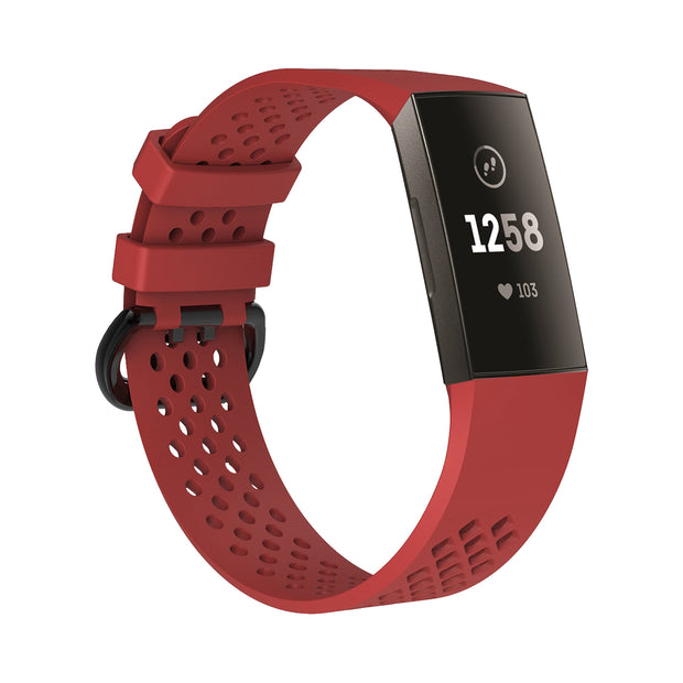 Mobile Mob AirVent Fitbit Charge 3 Bands Replacement Sports Strap with Buckle Small / Red