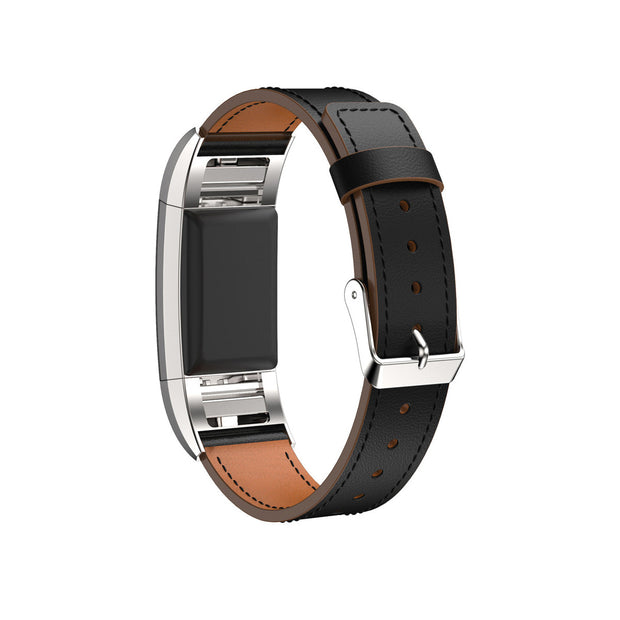 Mobile Mob Leather Fitbit Charge 2 Band Replacement Strap with Stainless Buckle