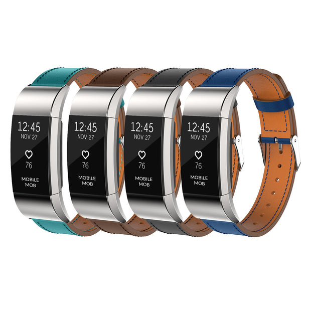 Fitbit Charge 2 Bands Leather Replacement Strap Wristband + Stainless Buckle